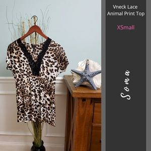 Soma Intimates | Vneck Lace Animal Print Top